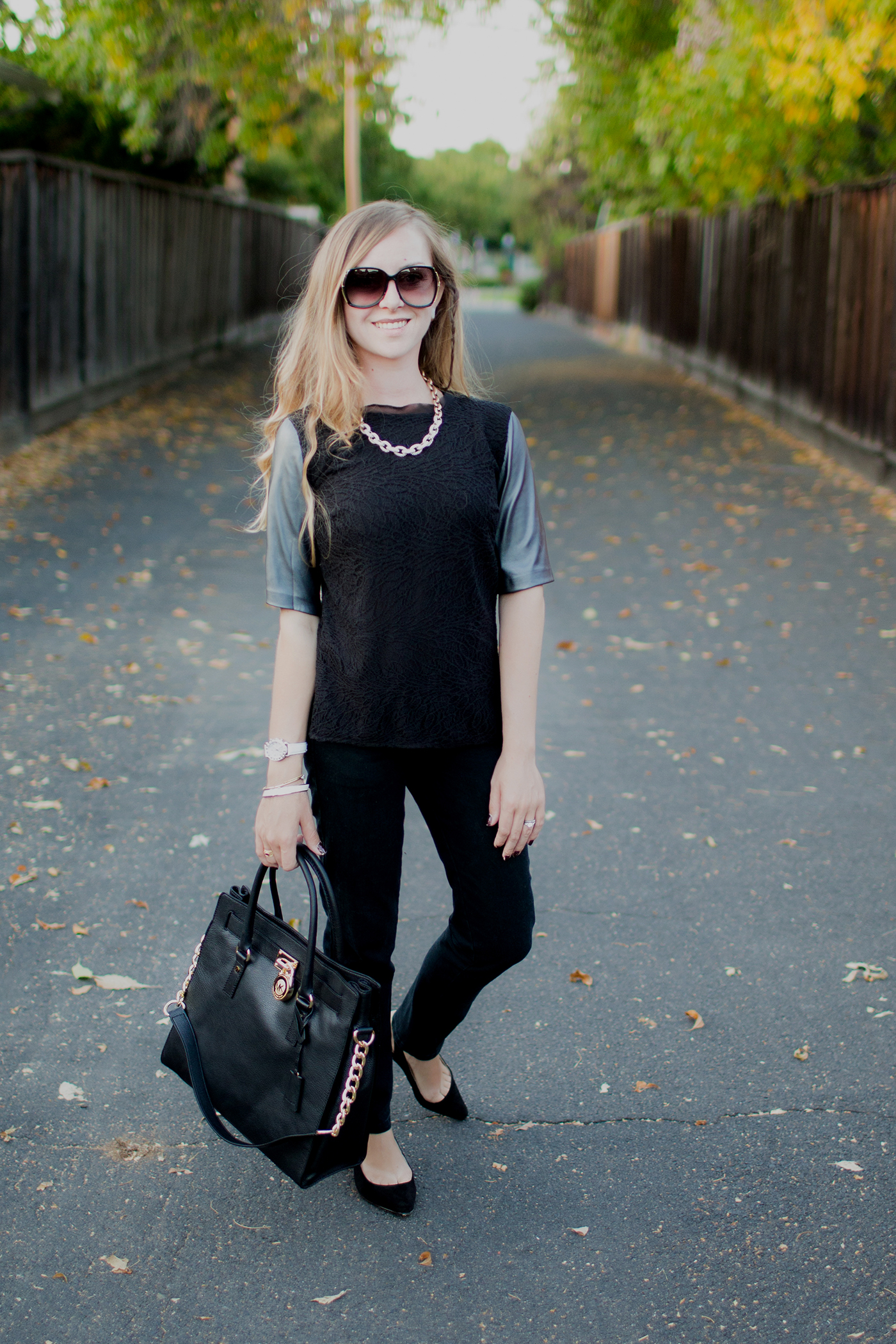 All black and leather minimalist outfit circa 2012