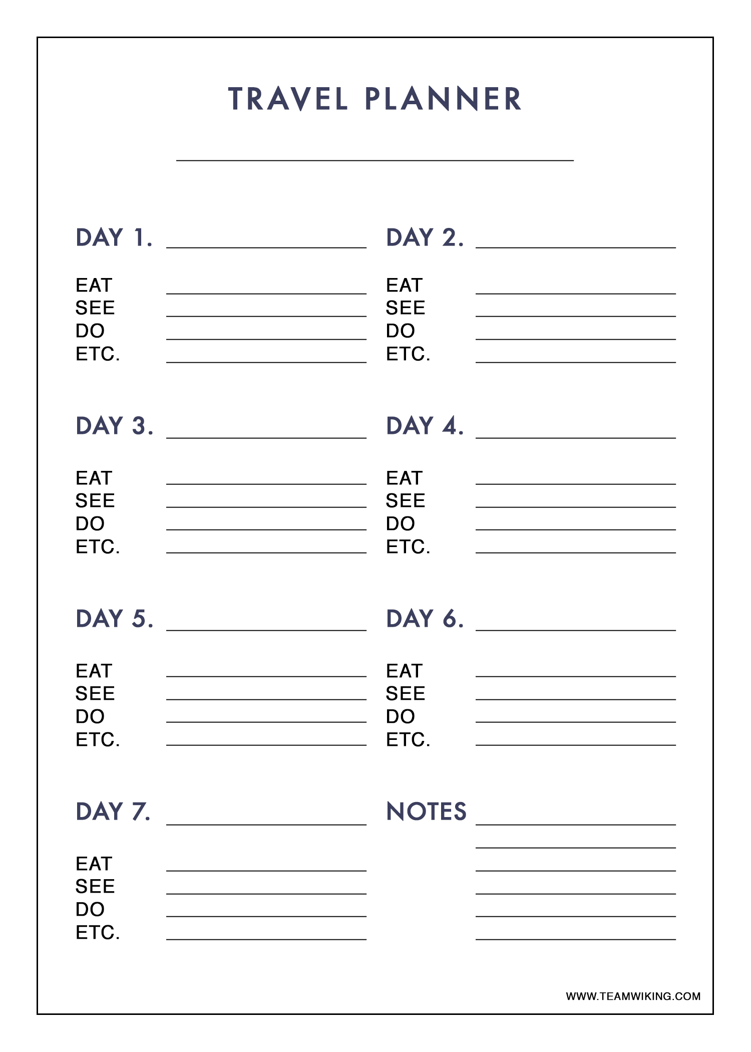 Free Printable 7 Day Travel Planner