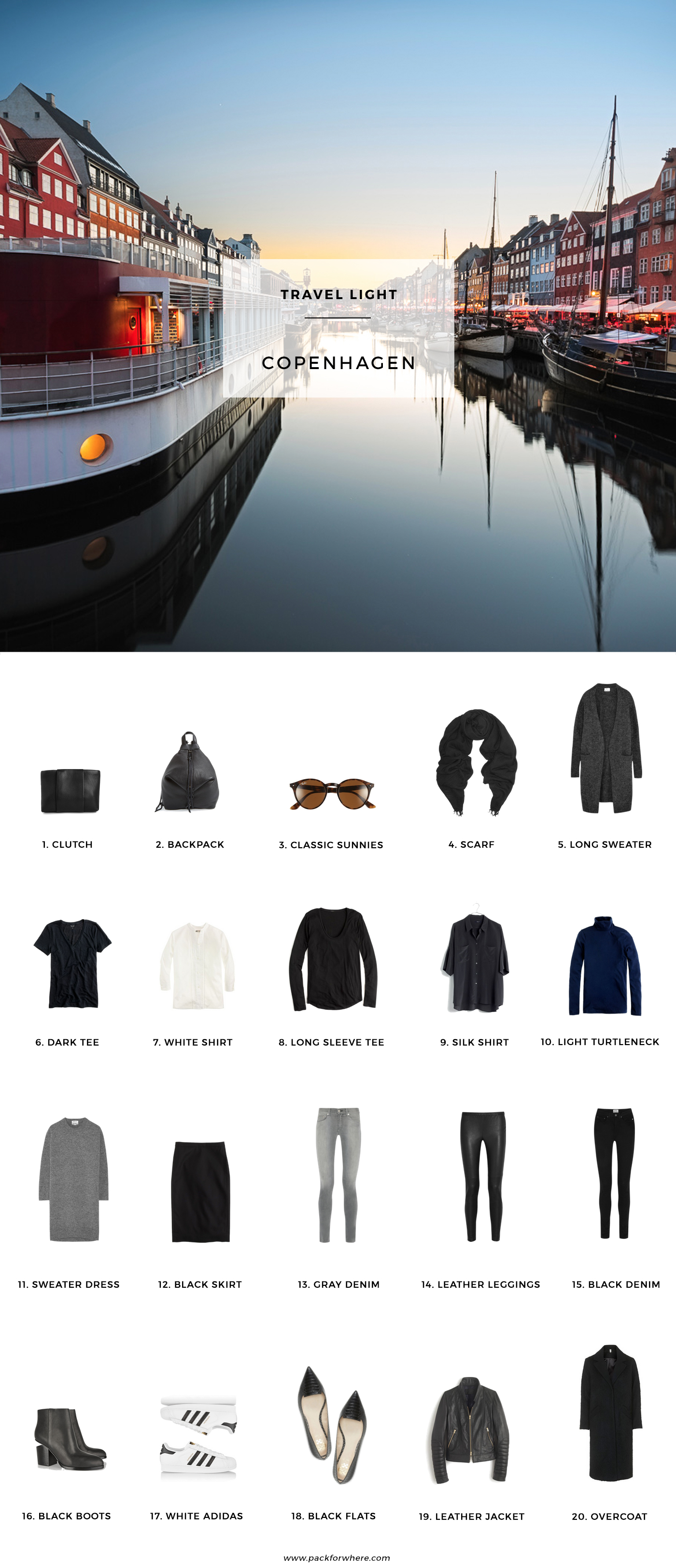 What to pack for Copenhagen, Denmark in the Fall. Includes carry-on travel light packing list. 20 items, 10 outfits, 1 carry-on. Fall packing list for Copenhagen. #travellight #packinglight #minimalism #copenhagen #cphfw