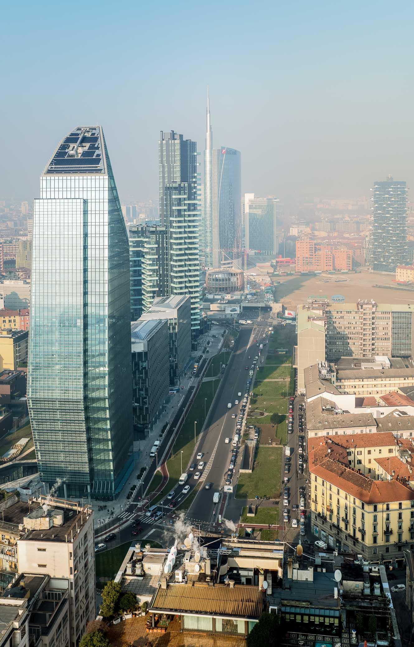 Milan's bustling business district