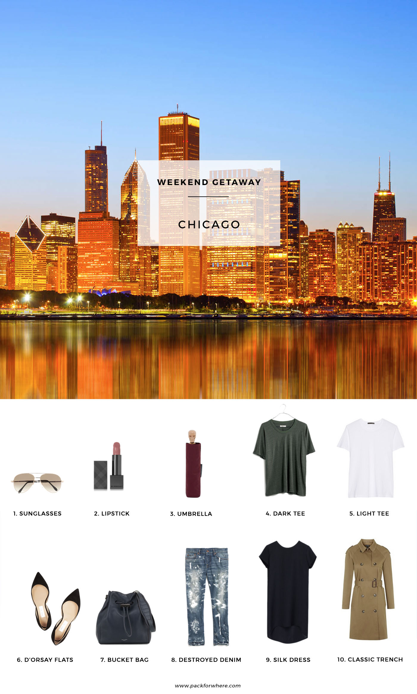 Pack for a Fall getaway to Chicago, 10 items, 5 outfits, 1 carry on. #travellight #packingtips #traveltips