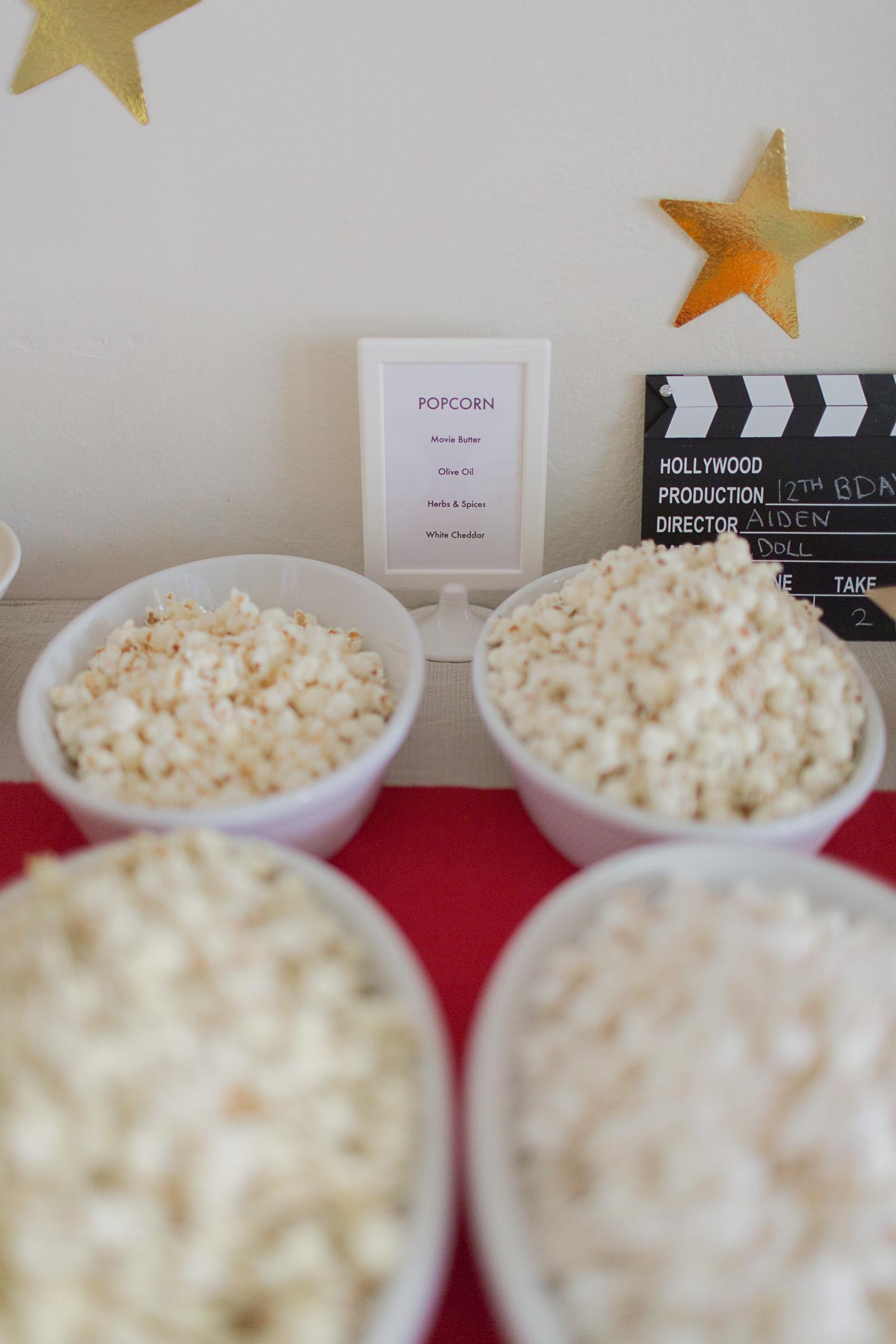 Popcorn bar at movie night birthday party