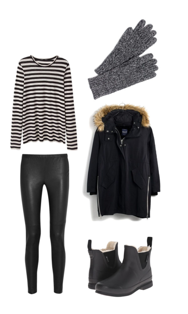 Striped outfit for a ski trip. What to pack for a Ski Trip. 20 items, 10+ days/outfits, 1 carry on suitcase. #travellight #packingtips #traveltips
