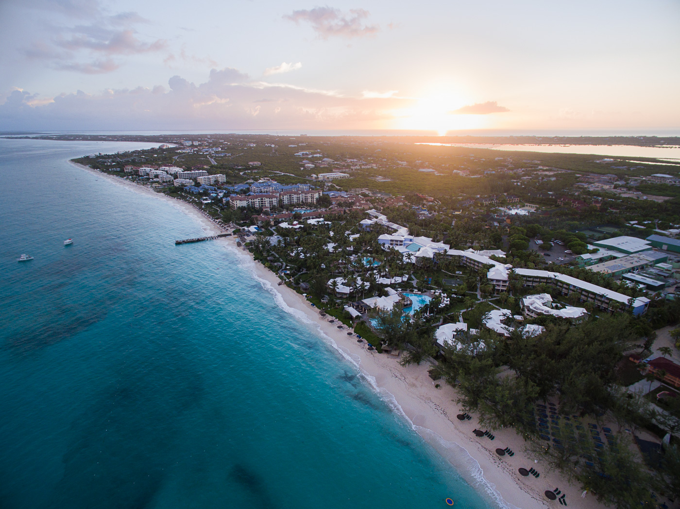 Sunrise over Beaches Resort in Turks and Caicos, as seen from a drone.