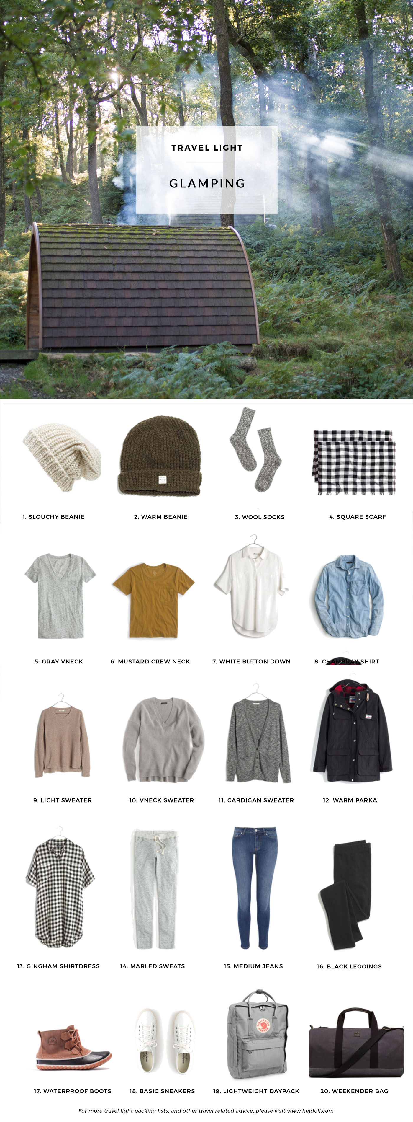 What to pack for a Winter Glamping Trip. 20 items, 10+ days/outfits, 1 carry on suitcase. #travellight #packingtips #traveltips
