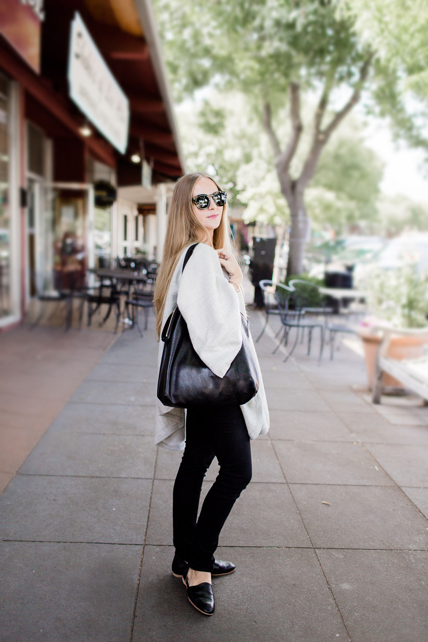 Casual outfit for Spring in Los Altos, California. Wearing Cuyana, Acne Studios, Céline, Emerson Fry