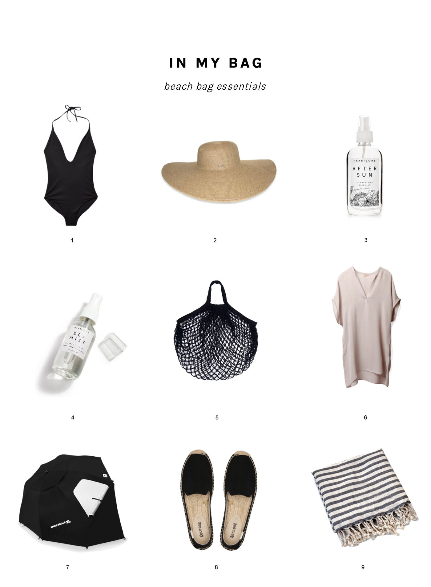 Beach bag essentials, my favorites to pack for a day at the beach.