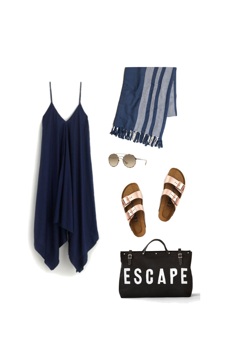 Lakeside outfit. Travel Light, pack for Summer Camp. 16 items, 10 outfits, 1 carry-on.