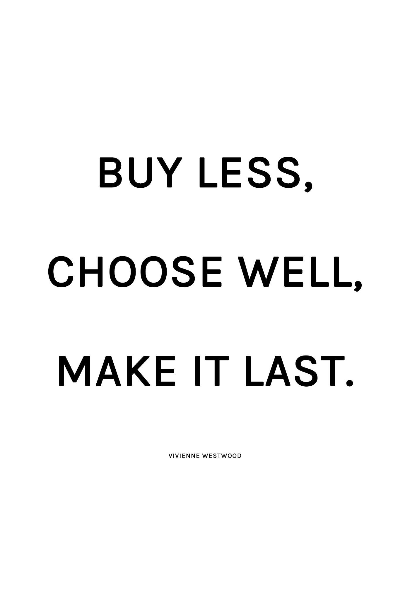 Buy less, choose well, make it last. - Vivienne Westwood