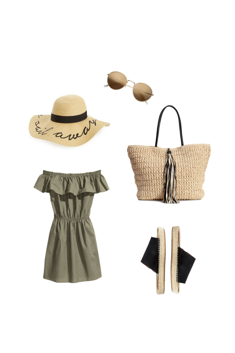 Outfit from a Summer packing list on a budget. 20 items, 12 outfits, 1 carry on, at a price that you can afford! Every item under $50.