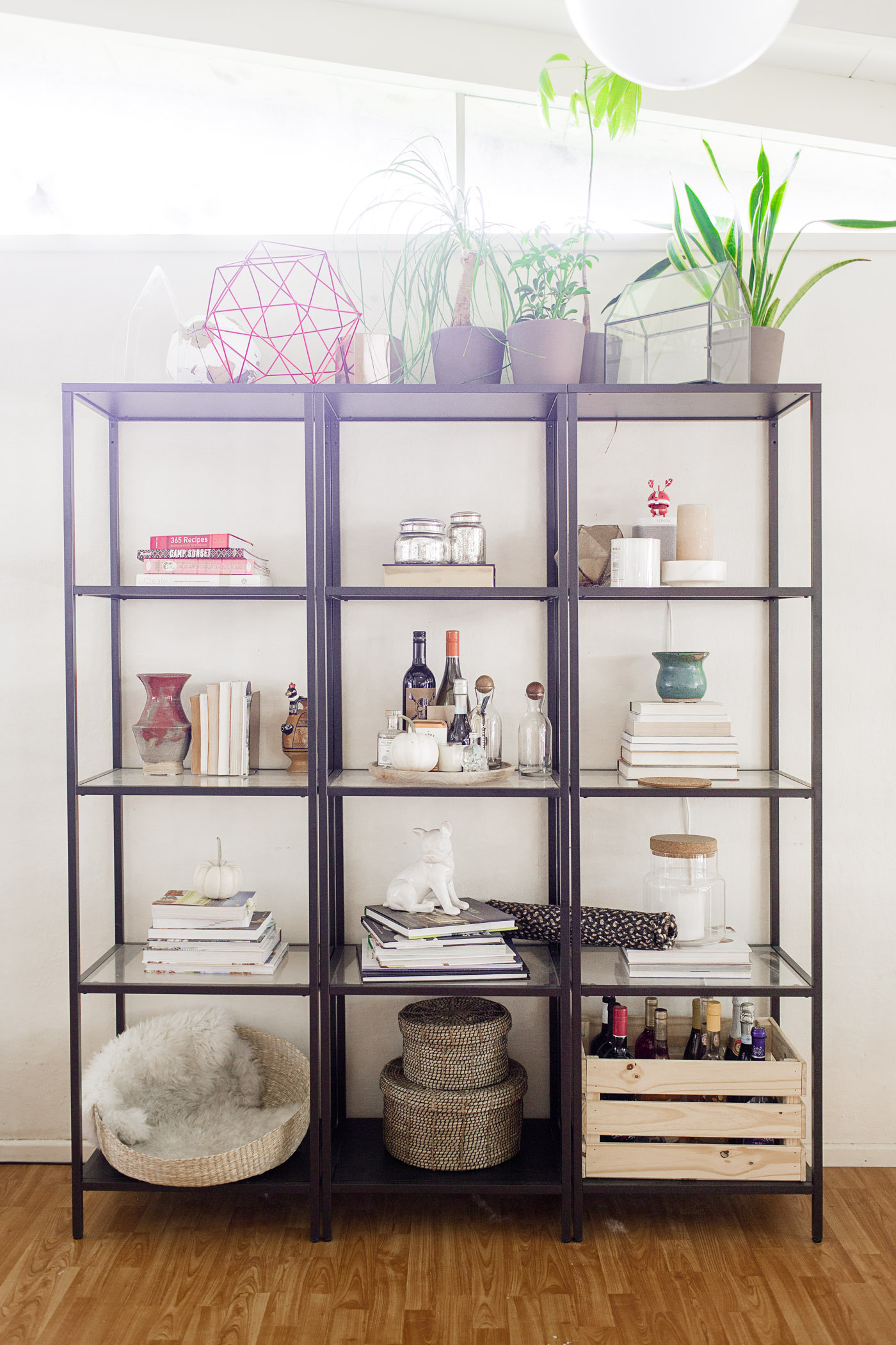 Easy steps to style a shelf (the BEFORE), featuring my Ikea Vittsjö shelves.