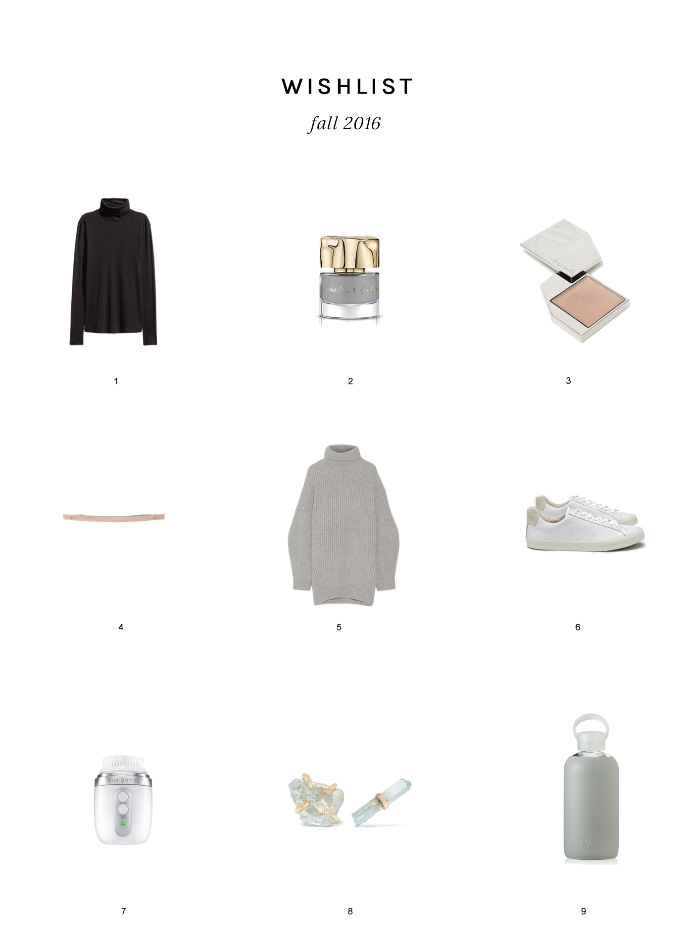My Fall 2016 wishlist, featuring Flannery, Smith & Cult, Kjær Weis, Sylvain Le Hen, Acne Studios, Veja, Clarisonic, Melissa Joy Manning & bkr.