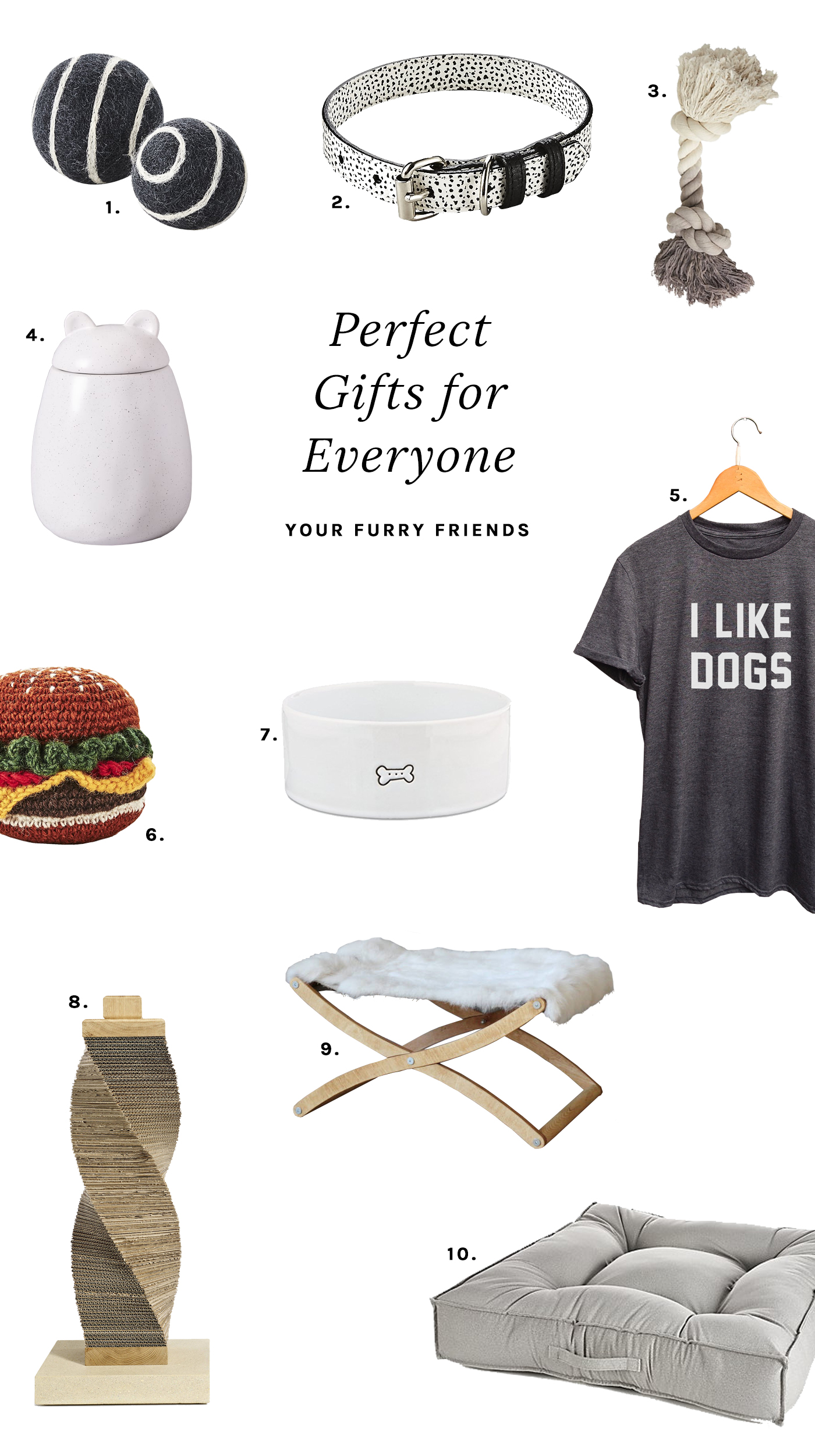 Perfect gifts for stylish and modern pets. Part of a well-curated gift guide for everyone in your life.