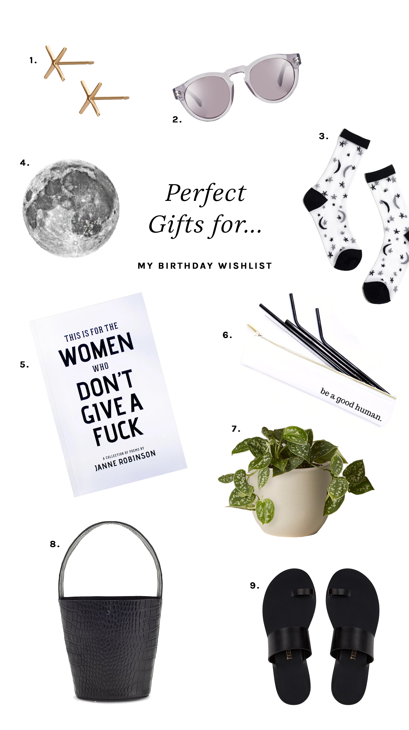 My 2019 birthday wishlist featuring earrings, temporary tattoos, a poetry book, a silver philodendron and sandals.