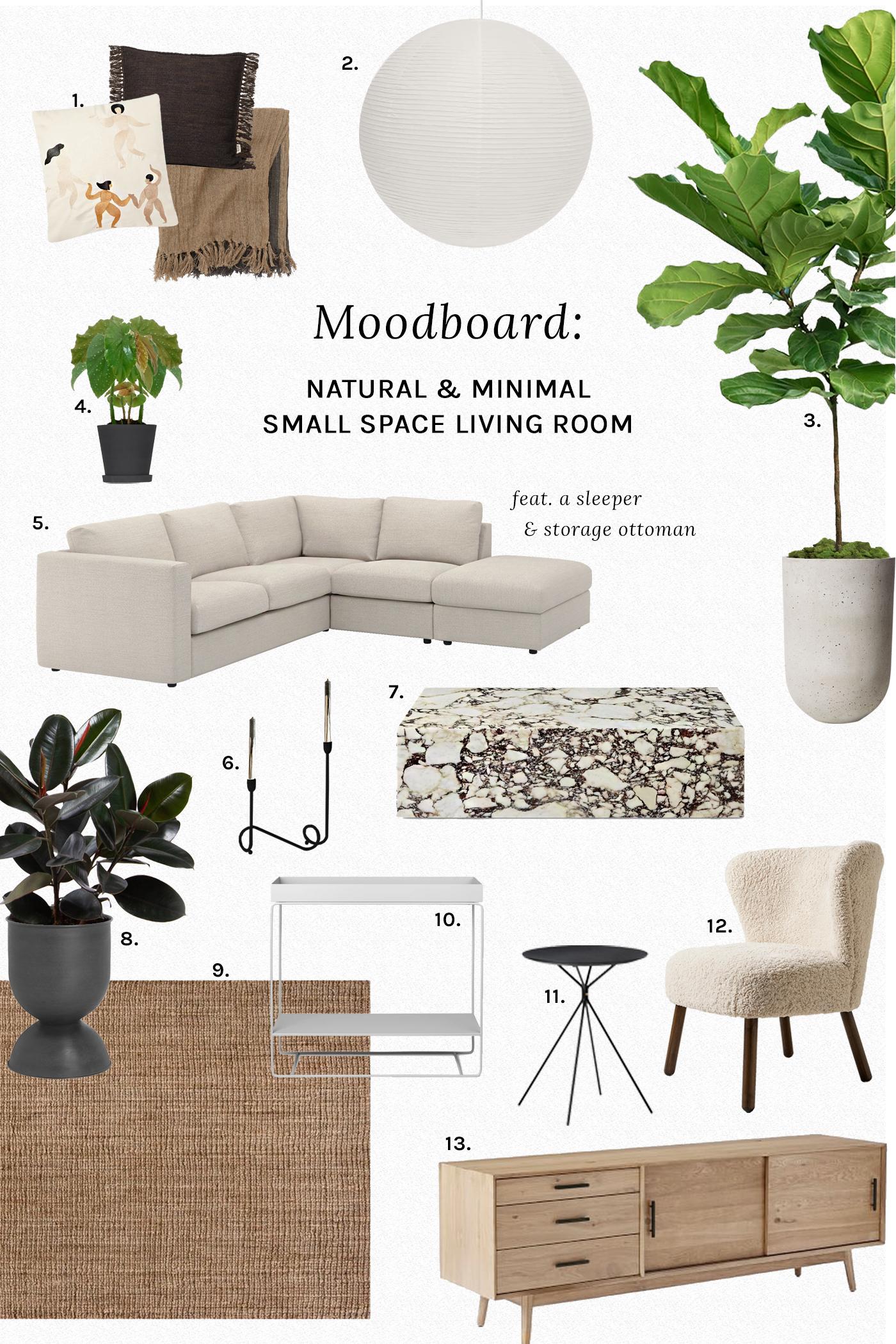 Moodboard: Natural & Minimal Small Space Living Room